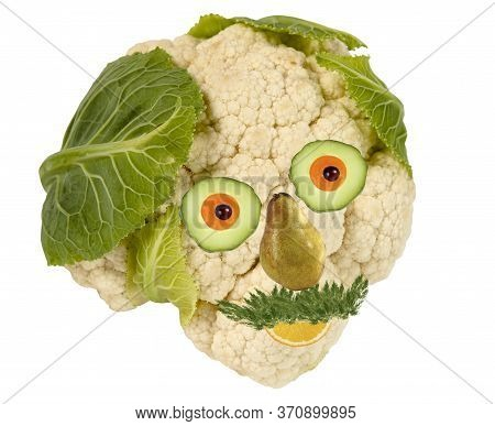 Creative Food Concept. Funny Portrait Made Of  Vegetables And Fruit.
