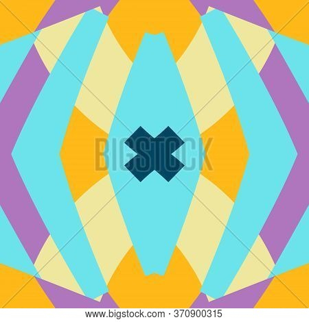Abstract Flat Geometric And Curve Colorful Pattern. Retro Style. Template For Web Page, Greeting Car