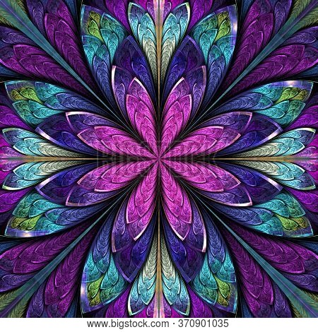 Beautiful Fractal Flower  In Stained-glass Window Style. You Can Use It For Invitations, Notebook Co
