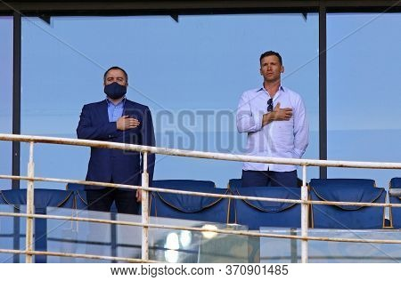 Kyiv, Ukraine - June 6, 2020: President Of Ukrainian Football Association Andriy Pavelko And Head Co