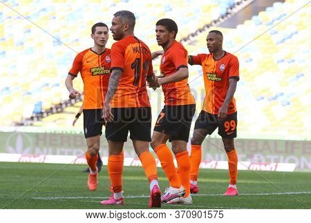 Kyiv, Ukraine - June 6, 2020: Shakhtar Donetsk Players Celebrate After Scored A Goal During Ukrainia
