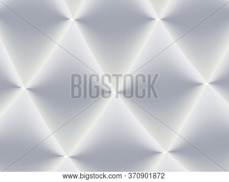 3d Decorated White And Light Grey Rhombuses In A Repeating Pattern. Futuristic Geometric Monochromat