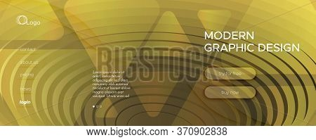 Abstract Vector Curve. Yellow Futuristic Landing Page. 3d Flow Lines. Technology Pattern. Gold Abstr