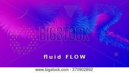 Pink Wave Futuristic Liquid. Vector Music Cover. Fluid Graphic Template. Blue Geometric Movement. Pi