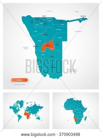 Editable Template Of Map Of Namibia With Marks. Namibia On World Map And On Africa Map.