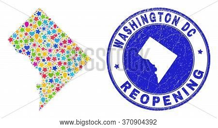Celebrating Washington District Columbia Map Collage And Reopening Scratched Stamp Seal. Vector Coll