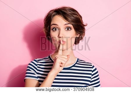 Closeup Photo Of Funny Pretty Lady Hold Finger On Lips Asking Roommates Be Silent Shhh Wear Casual S