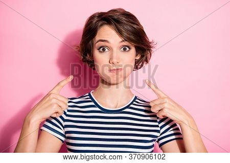 Portrait Of Careless Crazy Funky Girl Inflate Her Cheeks Point Index Finger Show Joke Wear Good Look