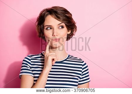 Portrait Of Positive Minded Girl Look Copyspace Touch Chin Finger Think Thoughts Have Tricky Decide