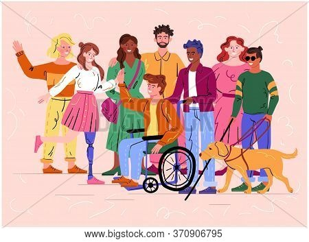 Group Of Diverse Happy Smiling Disabled People And Guide Dog With An Assortment Of Different Handica