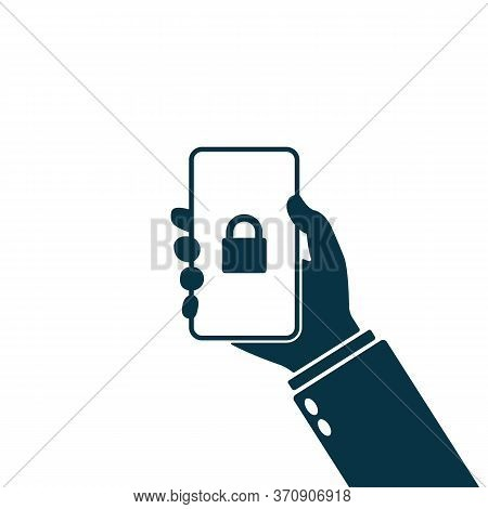 Locked Padlock, Holding Hand Mobile Lock, Secured Mobile Phone Badge Icon. Lock Icon On Smartphone S
