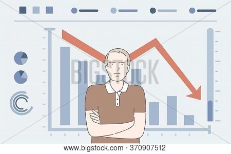 Upset Man And Falling Bar Graph Vector Cartoon Illustration. Dissatisfied Businessman, Financial Col