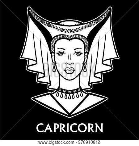 Zodiac Sign  Capricorn. Fantastic Princess, Animation Portrait. Vector Monochrome Illustration Isola