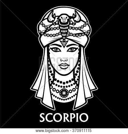 Zodiac Sign Scorpio. Fantastic Princess, Animation Portrait. Vector Monochrome Illustration Isolated