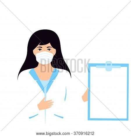 Medical Woman Doctor Hold Clipboard With Copyspace. Nurse Standing In White Lab Coat.