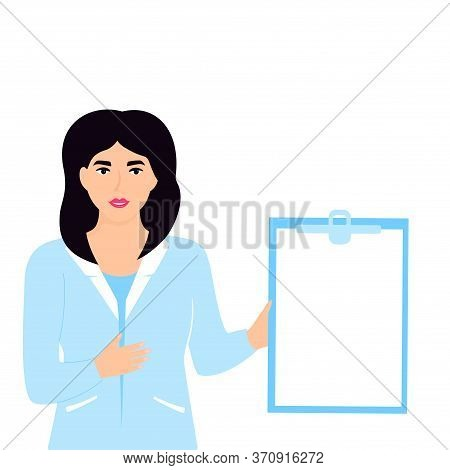 Medical Woman Doctor Hold Clipboard With Copyspace. Nurse Standing In Blue Lab Coat