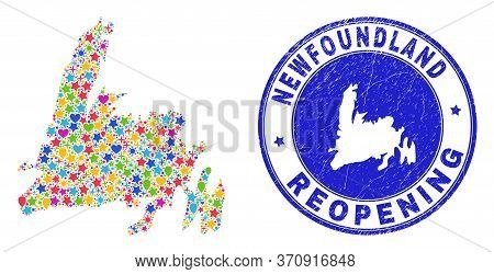 Celebrating Newfoundland Island Map Collage And Reopening Textured Seal. Vector Mosaic Newfoundland