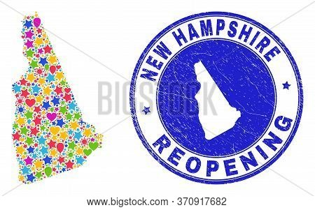 Celebrating New Hampshire State Map Collage And Reopening Textured Stamp. Vector Collage New Hampshi