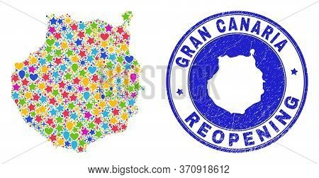 Celebrating Gran Canaria Map Collage And Reopening Dirty Stamp Seal. Vector Collage Gran Canaria Map