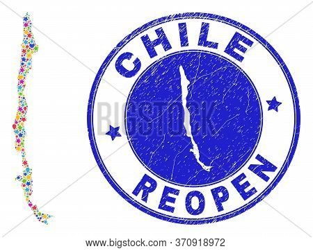 Celebrating Chile Map Collage And Reopening Unclean Stamp Seal. Vector Collage Chile Map Is Made Fro