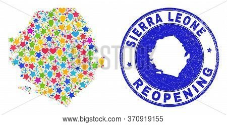 Celebrating Sierra Leone Map Collage And Reopening Corroded Watermark. Vector Collage Sierra Leone M