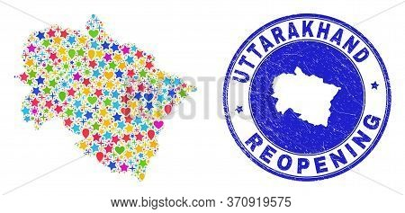 Celebrating Uttarakhand State Map Mosaic And Reopening Rubber Seal. Vector Mosaic Uttarakhand State