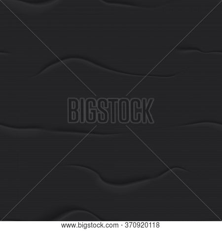 3d Black Bad Glued Paper Seamless Background. Wet Wrinkled And Creased Paper Sheet With Crumpled Tex