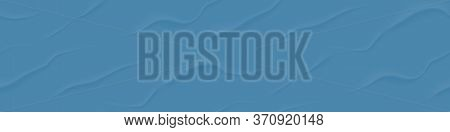 3d Blue Bad Glued Paper Seamless Background. Wet Wrinkled And Creased Paper Sheet With Crumpled Text