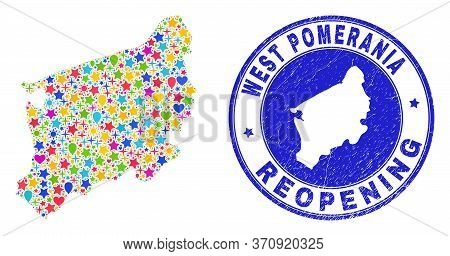 Celebrating West Pomeranian Voivodeship Map Collage And Reopening Rubber Stamp Seal. Vector Collage