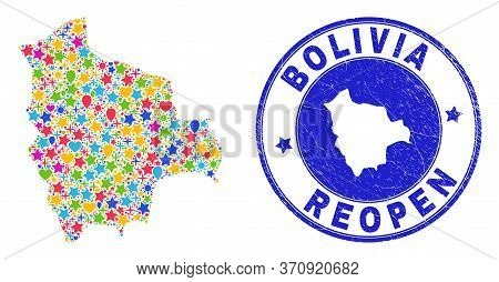 Celebrating Bolivia Map Collage And Reopening Scratched Stamp Seal. Vector Collage Bolivia Map Is Fo