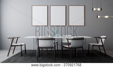 Stylish Interior Of Bright Dining Room With Table And Chair. Poster, Wall Mock Up . Modern Design Ro
