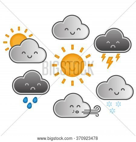 Cute Kawaii Cartoon Weather Symbols With Faces. Childrens Vector Illustration With Gradients Of Suns