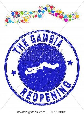 Celebrating The Gambia Map Collage And Reopening Textured Seal. Vector Collage The Gambia Map Is For