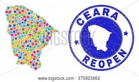 Celebrating Ceara State Map Mosaic And Reopening Scratched Seal. Vector Mosaic Ceara State Map Is Or