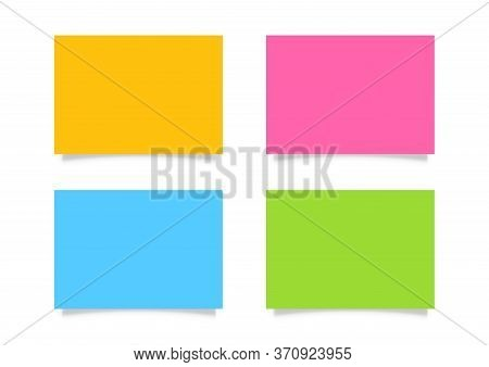 Colorful Paper Sheet Set On White Background, Note Paper Blank Orange, Pink, Blue And Green, Workshe