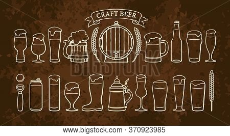 Beer Objects Set Isolated On Rusty Brown Backgound. Beer Glasses Mugs Wooden Barrel Wheat Ribbon Ban