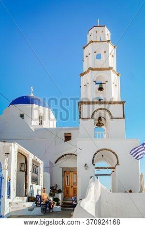 Santorini Greece, Young Men On A Luxury Vacation At The Greek Island Of Santorini Pygros