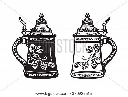 Two German Stein Beer Mugs. Black And White. Hand Drawn Vector Illustration On White Backgraund. Bre
