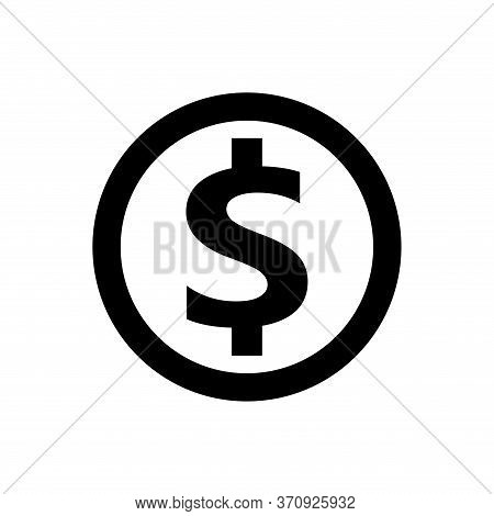 Dollar Currency Icon Isolated On White, Coin Dollar Money Black White For Icon, Dollar Money Symbol