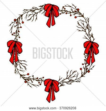 Christmas Wreath. Stylized Christmas Wreath Of Branches With Berries. Freehand Drawing. Doodle Art.