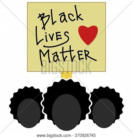 Black Lives Matter Paper Banner For Protest On White Background.