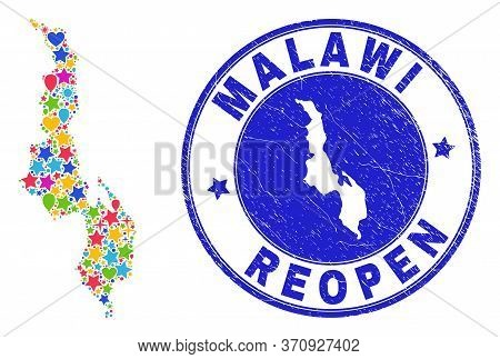 Celebrating Malawi Map Mosaic And Reopening Rubber Stamp Seal. Vector Mosaic Malawi Map Is Designed