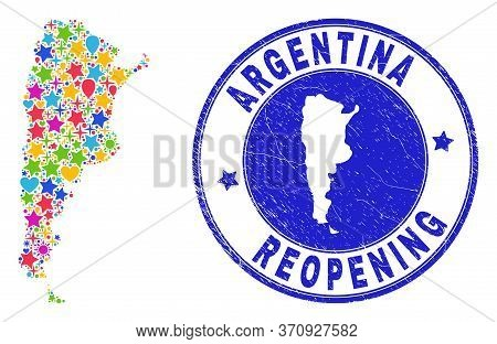 Celebrating Argentina Map Collage And Reopening Dirty Stamp Seal. Vector Collage Argentina Map Is Or