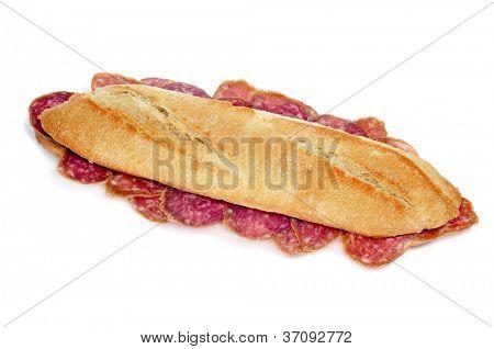 spanish salami sandwich on a white background