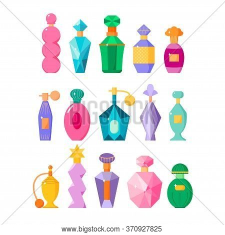 Perfume Bottles Set, Different Fragrance Bottles With Sparkles In Flat Style, Scented Waters Collect