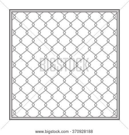 Metal Fence Wire Mesh Isolated On White Background, Net Fence Silver Steel, Mesh Silver Object Illus