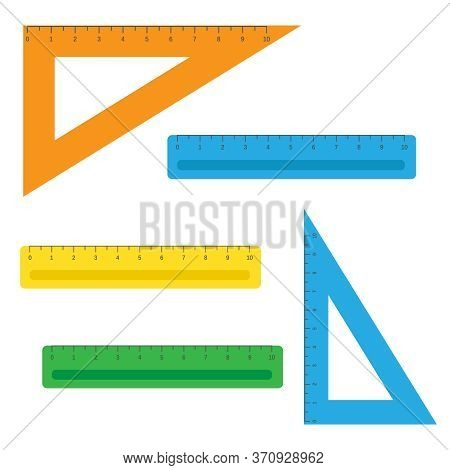 School Instruments, Rulers Vector Set. Instrument Ruler For Measure And Tool Ruler Centimeter And Mi