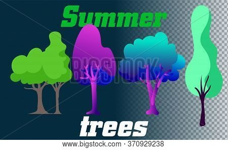 Forest Trees, Hedges And Bush Set Illustration Of A Set Of Cartoon Spring Or Summer And Winter Fores