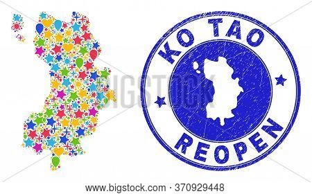 Celebrating Ko Tao Map Mosaic And Reopening Dirty Watermark. Vector Mosaic Ko Tao Map Is Done With R