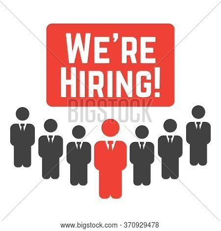 We Are Hiring. Hire Recruiting, Hiring Work Concept Vector Illustration
